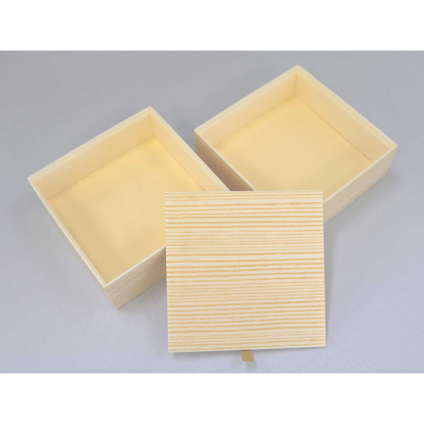 Image of Two Tiered Disposable Natural Take Out Square Box 2