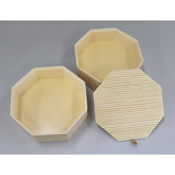 Image of Two Tiered Disposable Natural Take Out Hexagon Box 2