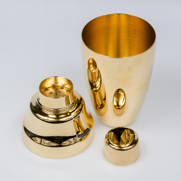 Image of Yukiwa Stainless Steel Gold Plated Cobbler Cocktail Shaker 3