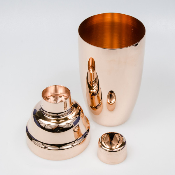 Image of Yukiwa Stainless Steel Rose Gold Plated Jumbo Cobbler Cocktail Shaker 3