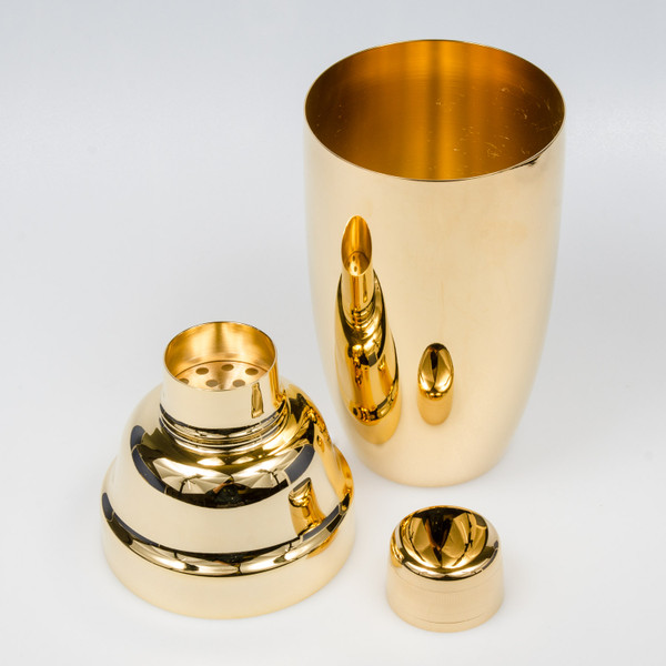 Image of Yukiwa Stainless Steel Gold Plated Jumbo Cobbler Cocktail Shaker 3