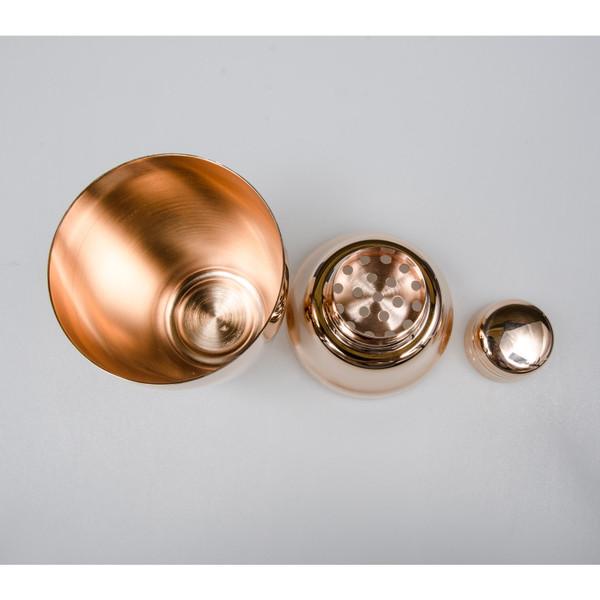 Image of Yukiwa Baron Stainless Steel Rose Gold Plated Cobbler Cocktail Shaker 2