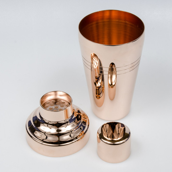 Image of Yukiwa Baron Stainless Steel Rose Gold Plated Cobbler Cocktail Shaker 3