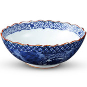 Sometsuke Blue Frilled Edge Bowl