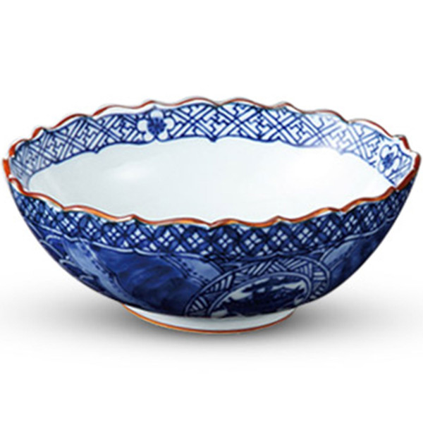 Image of Sometsuke Blue Frilled Edge Bowl 1