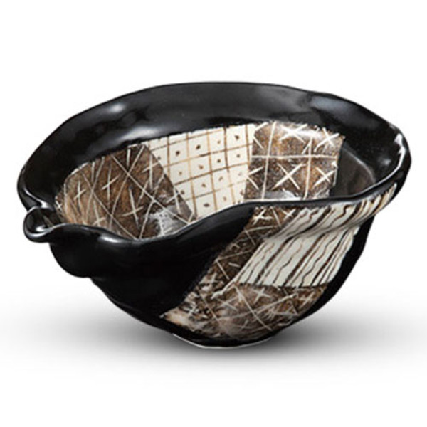 Image of Black Oribe Kobachi Abstract Bowl 1