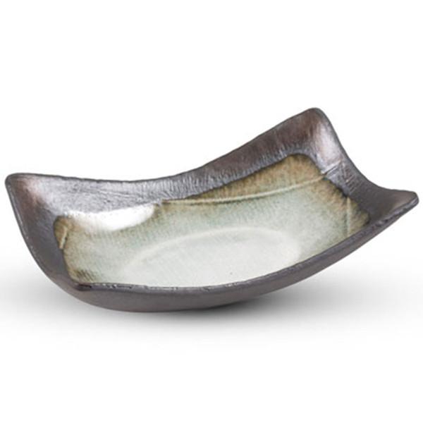 Image of Metallic White Rectangular Bowl