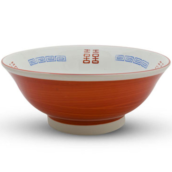 Image of White and Red Ramen Bowl