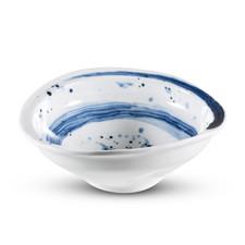 Blue Brushstroke Melamine Round Bowl