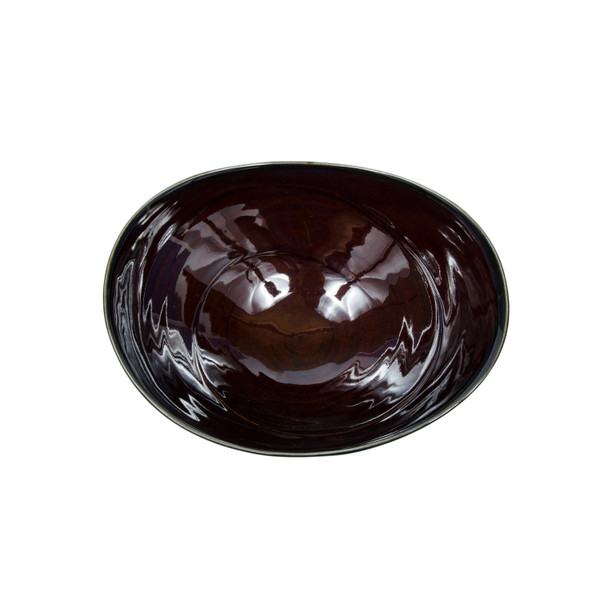 Image of Amber Brown Oval Bowl 2