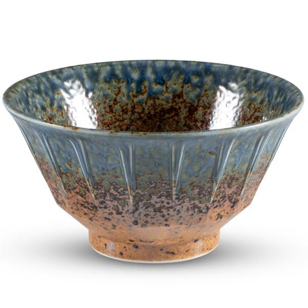 Image of Ainagashi Blue Brown Round Bowl 1