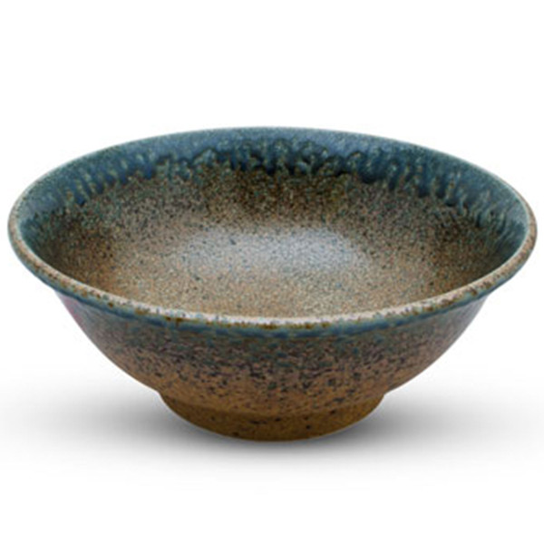 Image of Brown Mosaic Blue Rimmed Bowl 1