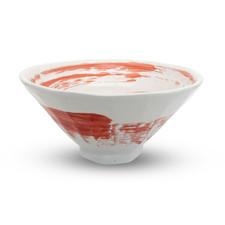 White Red Brushstroke Round Bowl