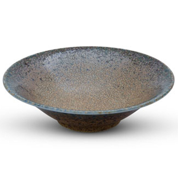 Image of Brown Mosaic Blue Rimmed Shallow Bowl
