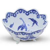 Sometsuke Blue Bird Footed Bowl