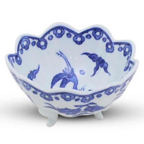 Image of Sometsuke Blue Bird Footed Bowl