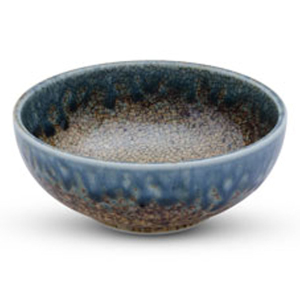 Image of Brown Mosaic Blue Rimmed Small Bowl 1