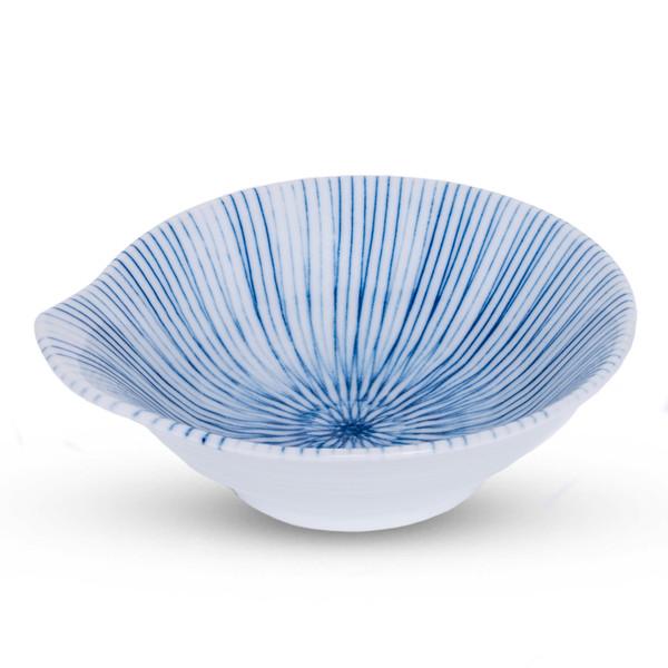 Image of Blue Pinstripe Sauce Bowl