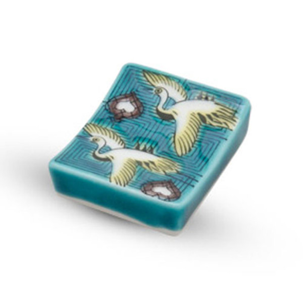 Image of Kutani Teal Crane Chopstick Rest 1
