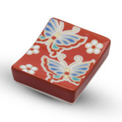 Kutani Red Butterfly Chopstick Rest