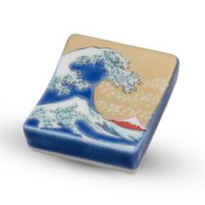 Kutani Yellow Hokusai Wave Chopstick Rest