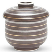 Black with Gold & Sliver Stripes Lidded Bowl