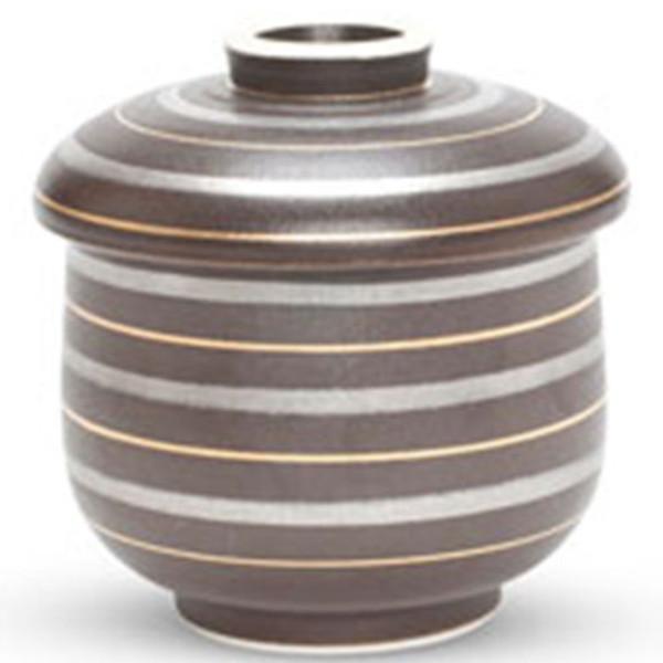 Image of Black with Gold & Sliver Stripes Lidded Bowl 1