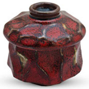 Red and Brown Textured Lidded Bowl