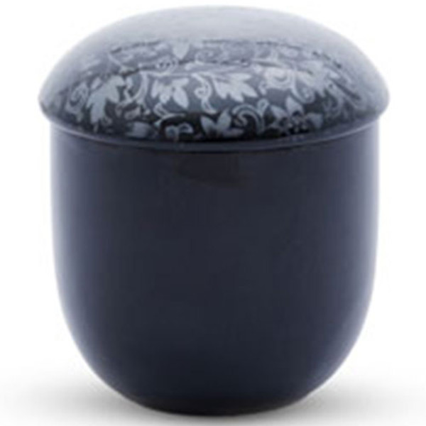 Image of Black Flower Patterned Lidded Bowl 1