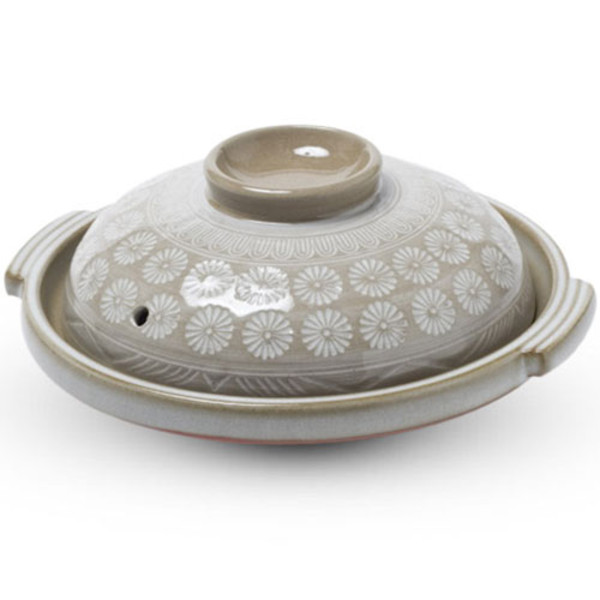 Image of Ginpo Mishima Toban Ceramic Grilling Plate with Lid