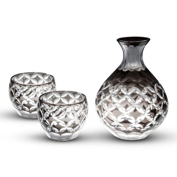 Image of Smoke Gray Glass Sake Set 1
