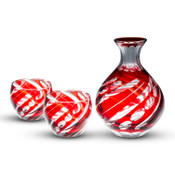 Smoke Red Glass Sake Set