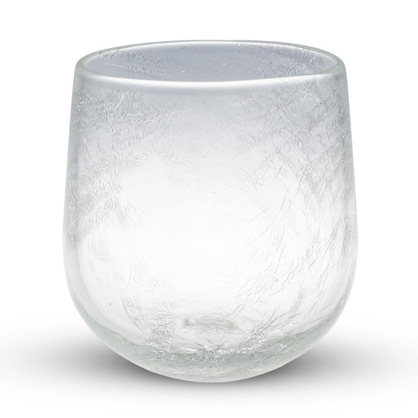 Image of Crackled Clear Glass Round Sake Glass