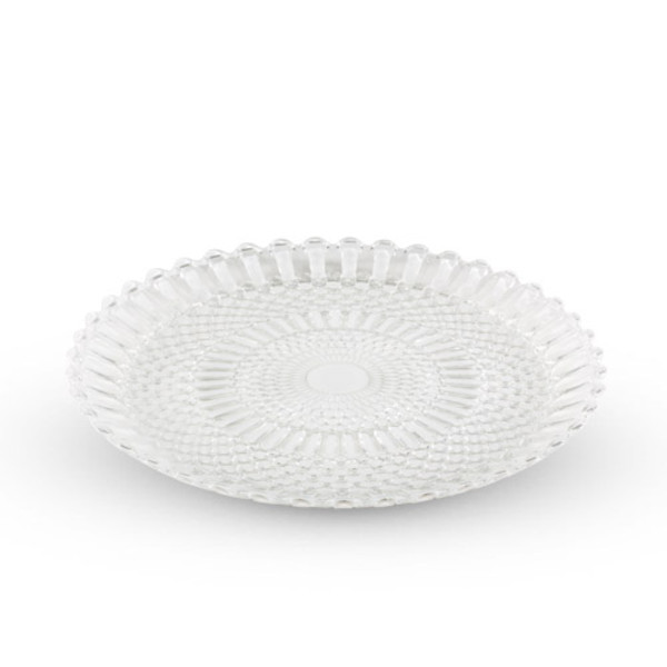 Image of Decor White Checked Round Glass Plate