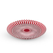 Decor Red Checked Round Glass Plate