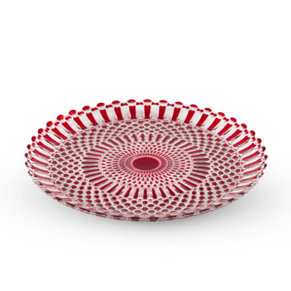 Image of Decor Red Checked Round Glass Plate