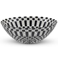 Decor Black Checked Round Glass Bowl