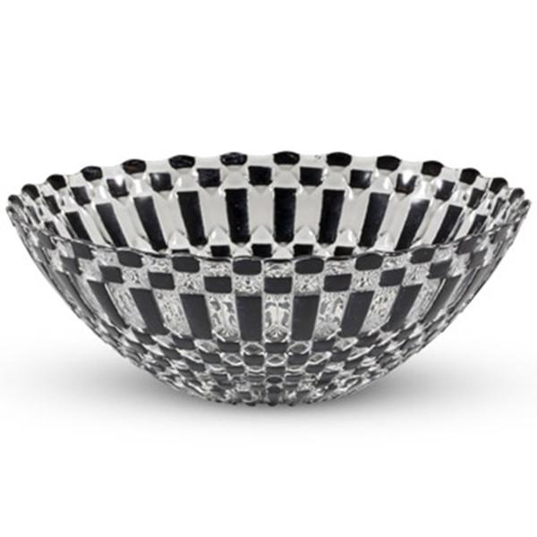 Image of Decor Black Checked Round Glass Bowl