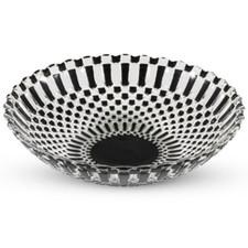 Decor Black Checked Round Glass Coupe Bowl