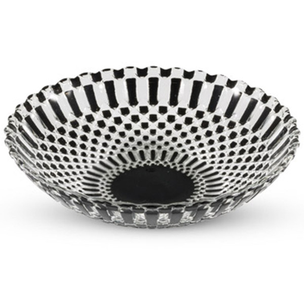 Image of Decor Black Checked Round Glass Coupe Bowl