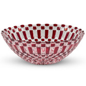 Decor Red Checked Round Glass Bowl
