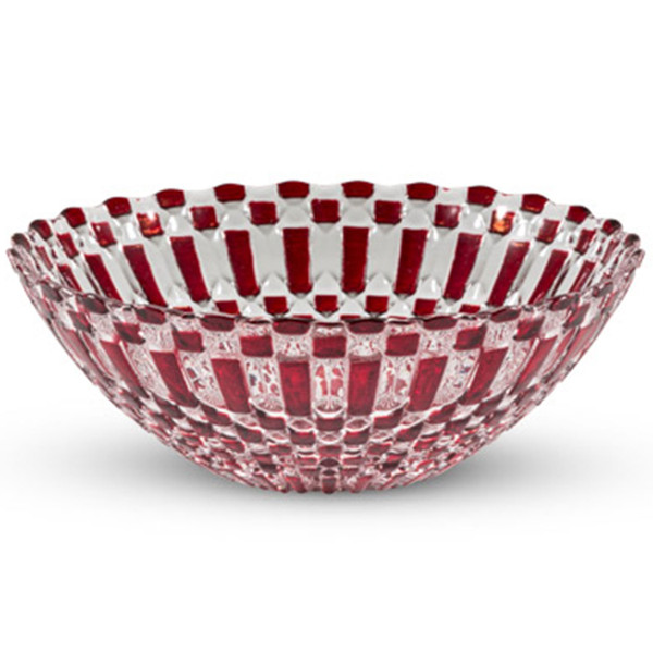 Decor Red Checked Round Gl Bowl