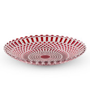 Decor Red Checked Round Glass Coupe Plate