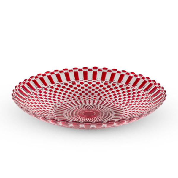 Image of Decor Red Checked Round Glass Coupe Plate
