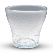 Polka Dotted Blue Round Glass Cup