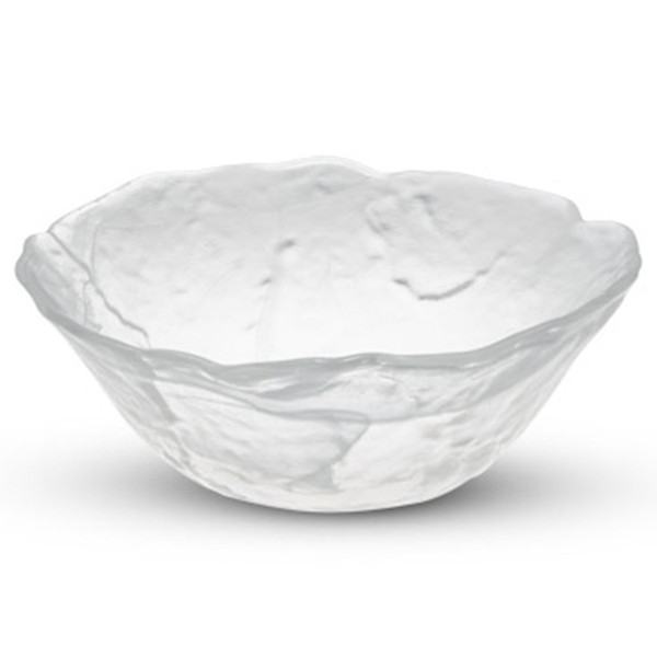 Image of Cloud White Glass Round Petal Bowl