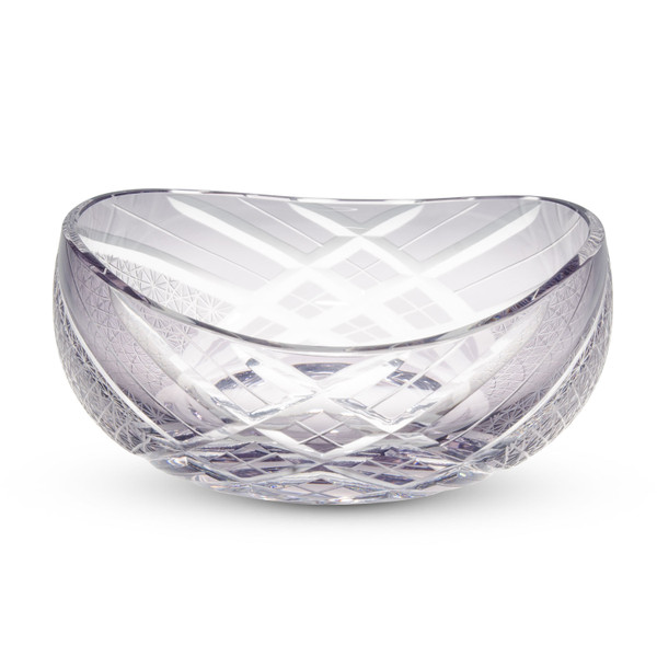 Image of Smoke Gray Glass Round Kiriko Style Bowl 1