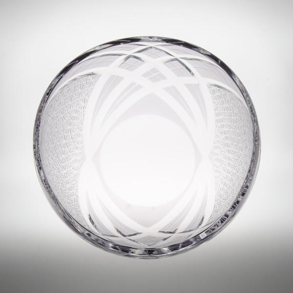 Image of Smoke Gray Glass Round Kiriko Style Bowl 2