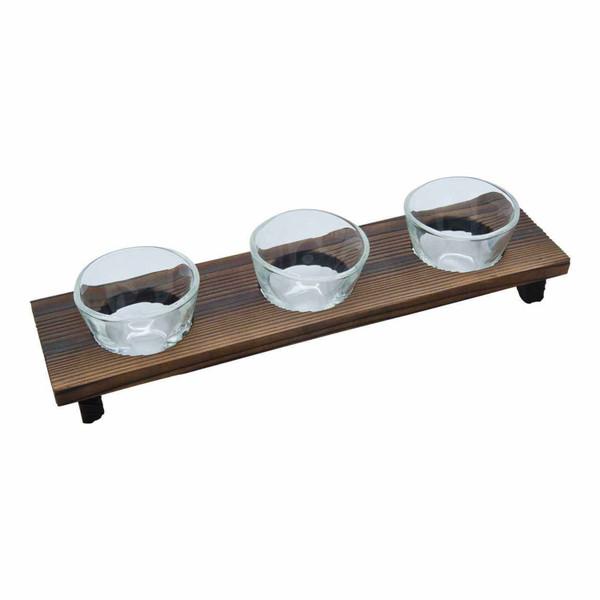Image of 3 Piece Handmade Sake Glass Set with Wooden Base