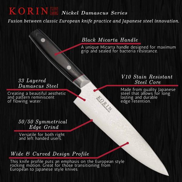 Image of Korin Nickel Damascus Petty with Black Micarta Handle 2